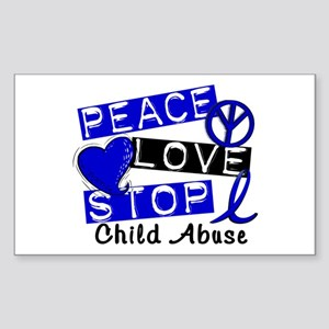Peace Love Stop Child Abuse 1 Sticker (Rectangle)