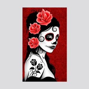 Day of the Dead Girl - Deep Re Sticker (Rectangle)