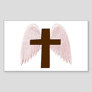 Winged Cross Rectangle Sticker