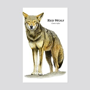 Red Wolf Rectangle Sticker