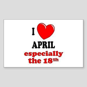 April 18th Rectangle Sticker