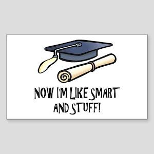 Smart Funny Grad Rectangle Sticker