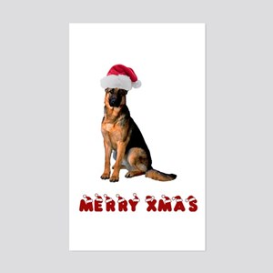 German Shepherd Christmas Sticker (Rectangle)