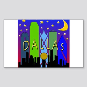 Dallas Skyline nightlife Sticker (Rectangle)