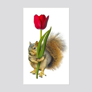 Squirrel Red Tulip Sticker (Rectangle)