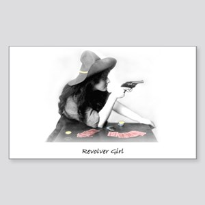 Revolver Girl Rectangle Sticker