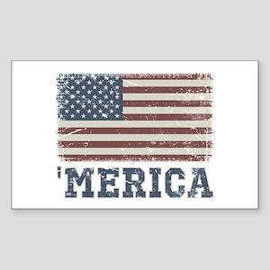 'Merica Flag Vintage Sticker (Rectangle)