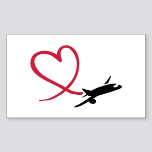 Airplane red heart Sticker (Rectangle)