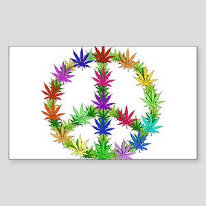 Rainbow Peace Marijuana Leaf Art Sticker (Rectangl