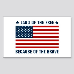 Land of the Free Flag Sticker (Rectangle)