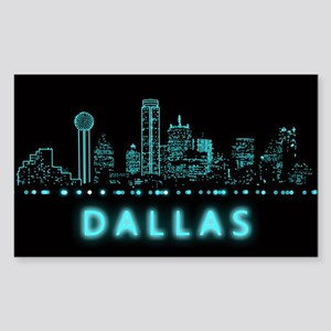 Digital Cityscape: Dallas, Tex Sticker (Rectangle)