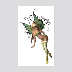 Green Wing Fairy Rectangle Sticker