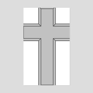 Silver Cross Sticker (Rectangle)