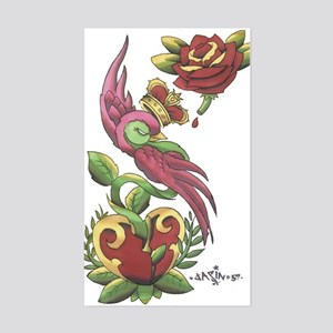 Swallow Crown Tattoo Rectangle Sticker