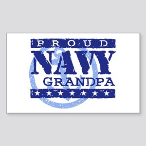 Proud Navy Grandpa Rectangle Sticker