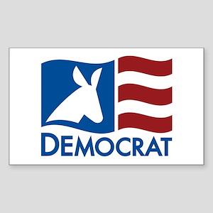 Democratic Flag Sticker (Rectangle)