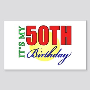 50th Birthday Party Rectangle Sticker