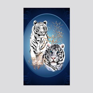 Two White Tigers Oval LargePos Sticker (Rectangle)