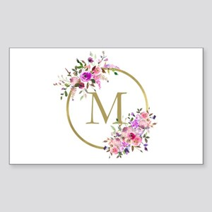 Floral and Gold Monogram Sticker