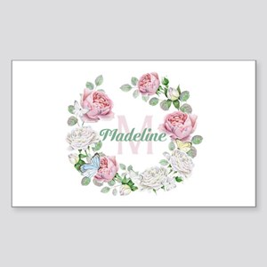 Rose Butterfly Floral Monogram Sticker