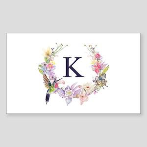 Hummingbird Floral Wreath Monogram Sticker