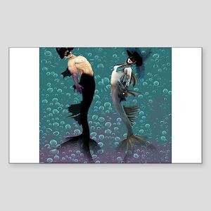 Carnival Mermaid Merman Shower Sticker (Rectangle)