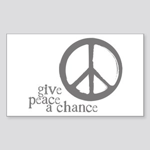 Give Peace a Chance - Grey Rectangle Sticker