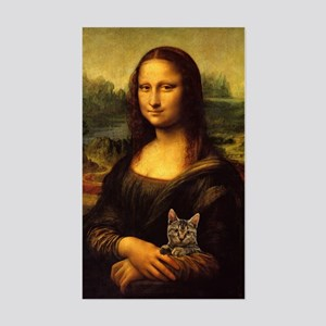 Monalisa with cat Sticker (Rectangle)