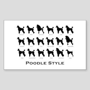 Poodle Styles: Black Rectangle Sticker
