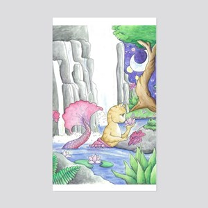 Water Garden - Mermaid Cat Sticker (Rectangle)