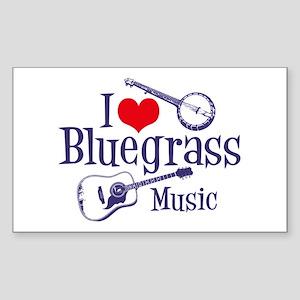 I Love Bluegrass Rectangle Sticker