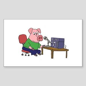 Pig using HAM radio Sticker
