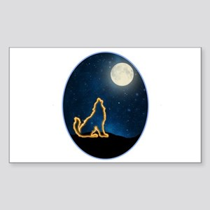 Neon Wolf Howls at the Moon Sticker