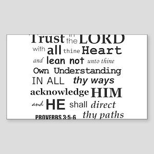 Proverbs 3:5-6 KJV Dark Gray Print Sticker
