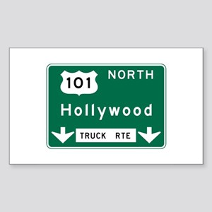 Hollywood, CA Road Sign, USA Sticker (Rectangle)