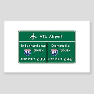 Atlanta Airport, GA Road Sign, Sticker (Rectangle)