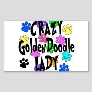 Crazy Goldenddoodle Lady Sticker (Rectangle)
