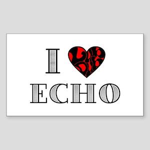 I Lubdub Echo Red Sticker (Rectangle)