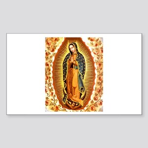 Guadalupe with Roses Rectangle Sticker