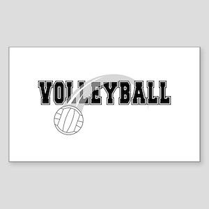 Black Veolleyball Swoosh Rectangle Sticker