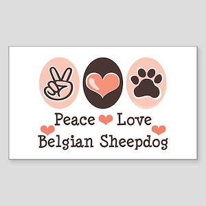 Peace Love Belgian Sheepdog Rectangle Sticker
