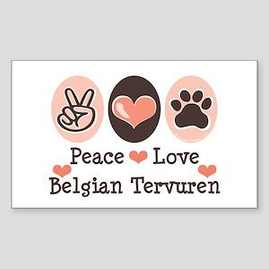 Peace Love Belgian Tervuren Rectangle Sticker