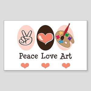 Peace Love Art Teacher Artist Rectangle Sticker