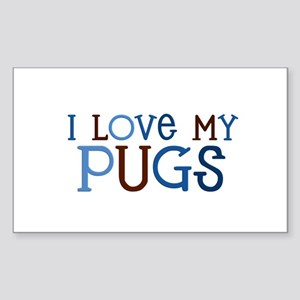 I love my Pugs Rectangle Sticker