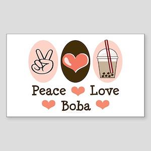 Peace Love Boba Bubble Tea Rectangle Sticker