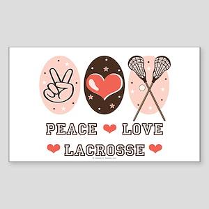 Peace Love Lacrosse Rectangle Sticker