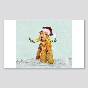Winter Airedale Rectangle Sticker