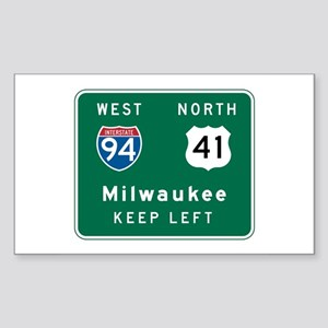 Milwaukee, WI Highway Sign Rectangle Sticker