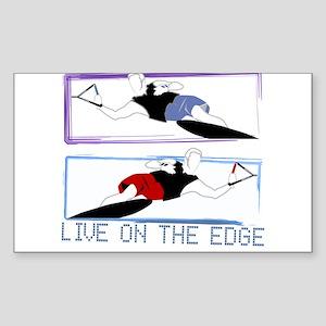 Live on the edge Slalom Rectangle Sticker 10 pk) S