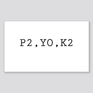 P2,YO,K2 (Knitting) Rectangle Sticker